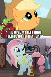 Size: 666x1000 | Tagged: amputee, apple, applejack, caption, dialogue, earth pony, edit, edited screencap, female, food, freckles, hat, image macro, kerfuffle, looking up, mare, pegasus, pony, prosthetic leg, prosthetic limb, prosthetics, rainbow roadtrip, raised hoof, safe, screencap, spoiler:rainbow roadtrip, text, the ticket master