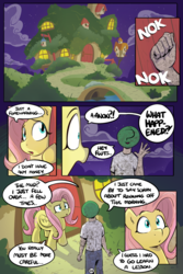 Size: 800x1200 | Tagged: artist:shoutingisfun, comic, comic:one left, dialogue, dirty, female, fluttershy, fluttershy's cottage, human, human male, knocking, looking at each other, male, mare, night, oc, oc:anon, open mouth, pegasus, pony, question, raised eyebrow, safe, shrunken pupils, speech bubble