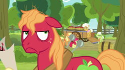 Size: 1920x1080 | Tagged: safe, screencap, apple bloom, applejack, big macintosh, goldie delicious, granny smith, pony, going to seed