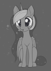Size: 1188x1650 | Tagged: alicorn, artist:dusthiel, black background, cheek fluff, chest fluff, cute, ear fluff, female, grayscale, inktober, leg fluff, lunabetes, mare, monochrome, open mouth, pony, princess luna, safe, simple background, snow, solo, wing fluff, winter