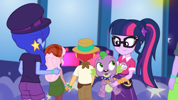 Size: 1920x1080 | Tagged: safe, screencap, duke suave, hunter hedge, raspberry lilac, sci-twi, space camp (character), spike, spike the regular dog, twilight sparkle, dog, equestria girls, equestria girls series, the road less scheduled, the road less scheduled: microchips, spoiler:choose your own ending (season 2), spoiler:eqg series (season 2), ass, bandana, butt, female, geode of telekinesis, glasses, hat, holding hands, magical geodes, male, offscreen character, panama hat, ponytail, space booty
