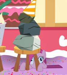 Size: 1624x1820 | Tagged: safe, composite screencap, edit, edited screencap, screencap, mr. turnip, pinkie pie, rocky, earth pony, pony, party of one, bucket, cake, confetti, female, food, hat, mare, panorama, party hat, pinkamena diane pie, rock, stool, table, turnip