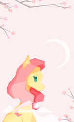Size: 1000x1641 | Tagged: artist:wo-jtekkk, cherry blossoms, cloud, crescent moon, cute, female, flower, flower blossom, fluttershy, low poly, mare, moon, pink background, pony, profile, safe, shyabetes, simple background, solo