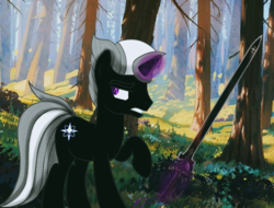 Size: 1280x971 | Tagged: artist:kailflame, forest, magic, male, oc, oc:kailflame, oc only, pony, safe, solo, sword, telekinesis, unicorn, weapon