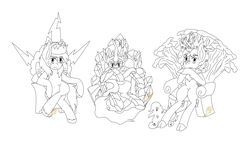 Size: 3608x2096 | Tagged: artist:midnightfire1222, commission, crowns, kings, king sombra, kirin, lineart, oc, oc:arc flash, oc only, oc:song shard, pegasus, pony, safe, thrones, unicorn