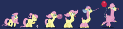 Size: 2000x482 | Tagged: artist:magerblutooth, balloon, blowing up balloons, blushing, blush sticker, bow, bowtie, bubblegum, confetti, derp, faded cutie mark, flower, flower in hair, fluttershy, food, giggling, gum, hair bow, hat, inflating, llama, llamafied, mental shift, mouse, open mouth, party hat, party horn, pegasus, personality swap, pony, ponytail, safe, series:mlp transformed, show accurate, species swap, story included, swirly eyes, tongue out, transformation, transformation sequence, wingding eyes