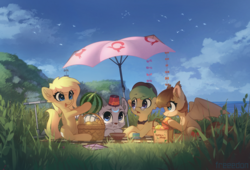 Size: 2500x1700 | Tagged: artist:freeedon, bat pony, earth pony, food, kite, oc, oc:adeptus monitus, ocean, oc:lightly breeze, oc:lunette, oc only, oc:salem, picnic, picnic blanket, safe, scooter, tea, umbrella, watermelon