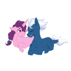 Size: 1000x1000 | Tagged: artist:xsugarxwolfiex, chest fluff, eyes closed, female, floppy ears, heart eyes, lesbian, lidded eyes, mare, night glider, pegasus, pony, raised hoof, safe, shipping, simple background, smiling, sugar belle, sugarglider, transparent background, unicorn, wingding eyes