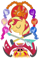 Size: 2505x3730 | Tagged: safe, artist:sketchmcreations, applejack, fluttershy, pinkie pie, rainbow dash, rarity, sci-twi, sunset shimmer, twilight sparkle, pony, unicorn, equestria girls, electric guitar, empty eyes, eyes closed, female, geode of empathy, geode of fauna, geode of shielding, geode of sugar bombs, geode of super speed, geode of super strength, geode of telekinesis, guitar, hammer, happy birthday mlp:fim, magical geodes, mlp fim's ninth anniversary, musical instrument, open mouth, ponified, simple background, sledgehammer, sunset satan, transparent background, vector