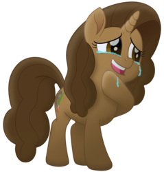 Size: 1436x1500 | Tagged: artist, artist:knadire, brown eyes, brown mane, cel shading, crying, curly hair, curly mane, female, film reel, gradient, happy, laughing, mare, movie accurate, my little pony: the movie, oc, oc:cell shader, oc only, paintbrush, pony, safe, shading, simple background, solo, style challenge, transparent background, unicorn