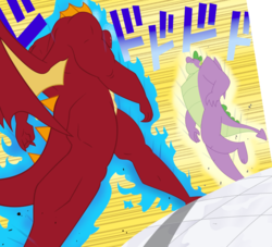 Size: 714x649 | Tagged: safe, artist:queencold, garble, spike, anthro, dragon, the last problem, spoiler:s09e26, crossover, duo, gigachad spike, jojo's bizarre adventure, oh you're approaching me, older, older spike