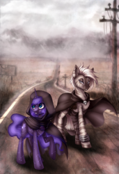 Size: 1280x1875 | Tagged: artist:limreiart, bracelet, cape, clothes, fallout, female, jewelry, mare, oc, oc only, safe, unicorn, wasteland, zebra