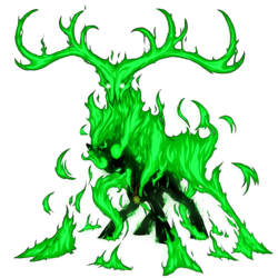 Size: 1500x1500   Tagged: safe, artist:kalemon, deer, ghoul, pony, undead, fallout equestria, balefire, fire, horns, on fire, simple background, solo, transparent background