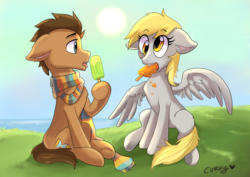 Size: 3508x2480   Tagged: safe, artist:capncurvy, derpy hooves, doctor whooves, time turner, earth pony, pegasus, pony, clothes, doctorderpy, female, food, fourth doctor's scarf, male, mare, popsicle, scarf, shipping, sitting, stallion, straight