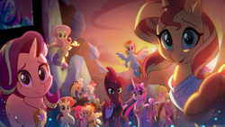 Size: 4444x2500 | Tagged: safe, artist:light262, applejack, discord, fizzlepop berrytwist, fluttershy, pinkie pie, rainbow dash, rarity, spike, starlight glimmer, sunset shimmer, tempest shadow, trixie, twilight sparkle, alicorn, draconequus, dragon, earth pony, pegasus, pony, unicorn, the last problem, spoiler:s09e26, armor, broken horn, cheek fluff, cutie mark, ear piercing, end of ponies, eye scar, female, flying, glowing horn, happy birthday mlp:fim, hoof shoes, horn, looking at you, male, mane six, mare, memorable, mlp fim's ninth anniversary, older, older spike, one eye closed, outstretched hoof, peytral, piercing, princess twilight 2.0, scar, smiling, twilight sparkle (alicorn), winged spike, wink