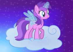 Size: 4209x3000 | Tagged: safe, artist:razorbladetheunicron, amethyst star, sparkler, pony, unicorn, lateverse, alternate universe, artificial wings, augmented, base used, cloud, female, glowing horn, happy birthday mlp:fim, horn, magic, magic eyes, magic wings, mare, mlp fim's ninth anniversary, on a cloud, solo, sparkly eyes, standing on cloud, starry sky, unicorn magic, wings