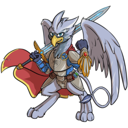 Size: 1000x1000 | Tagged: armor, artist:kalemon, cape, clothes, fallout equestria, griffon, oc, safe, standing, sword, weapon, wings