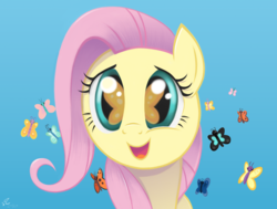 Size: 1920x1451 | Tagged: safe, artist:fladdrarblyg, fluttershy, butterfly, pony, the cutie mark chronicles, amazed, bust, cute, eye reflection, female, filly, filly fluttershy, full face view, gradient background, open mouth, reflection, shyabetes, smiling, so many wonders, solo, younger