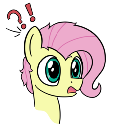 Size: 2649x2851 | Tagged: artist:czu, bust, butterscotch, exclamation point, fluttershy, interrobang, male, pegasus, pony, question mark, rule 63, safe, simple background, stallion, surprised, transparent background