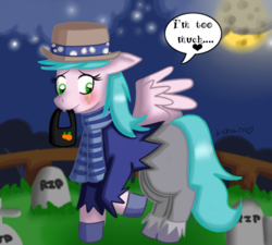 Size: 720x648 | Tagged: artist:warped-dragonfly, clothes, costume, female, gravestone, graveyard, mare, oc, oc:frosty pastel, oc only, pegasus, pony, safe