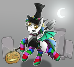 Size: 1500x1353 | Tagged: abstract background, artist:jesterpi, bat pony, bone, clothes, glow, gravedigger, graveyard, halloween, hat, holiday, moon, oc, oc only, oc:sky dancer, pumpkin, safe, shovel, smiling, socks, solo, striped socks, tombstones, wings, ych result