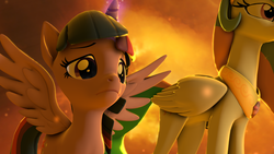 Size: 3840x2160 | Tagged: 3d, alicorn, artist:twilighlot, duo, female, frown, glow, glowing horn, horn, immortality blues, magic, mare, parody, princess celestia, revamped ponies, sad, safe, scene interpretation, scene parody, sky, solarflareseries, source filmmaker, twilight sparkle, wings