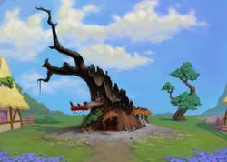 Size: 2560x1818 | Tagged: artist:chef j, ash, background, broken glass, destruction, environment art, everfree forest, farewell, fence, flower, golden oaks library, house, no pony, ruins, safe, scenery, scroll, sky