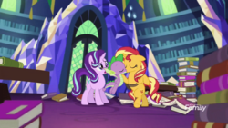Size: 800x450 | Tagged: safe, artist:georgegarza01, edit, screencap, spike, starlight glimmer, sunset shimmer, dragon, equestria girls, mirror magic, bipedal, book, female, flying, jealous, kiss edit, kissing, library, male, shipping, spike gets all the mares, straight, sunsetspike, twilight's castle, vector, winged spike