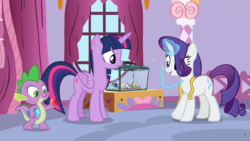 Size: 1920x1080 | Tagged: alicorn, dragon, rarity, safe, screencap, sewing, silk, spider, spike, spoiler:s09e26, star spider, the last problem, twilight sparkle, twilight sparkle (alicorn), winged spike