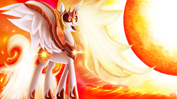 Size: 1920x1080 | Tagged: alicorn, artist:jphyperx, daybreaker, female, fire, mare, pony, safe, solo