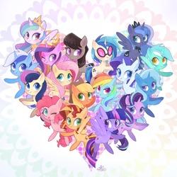 Size: 2000x2000 | Tagged: safe, artist:sibashen, applejack, bon bon, dj pon-3, fluttershy, lyra heartstrings, minuette, octavia melody, pinkie pie, princess cadance, princess celestia, princess luna, rainbow dash, rarity, starlight glimmer, sunset shimmer, sweetie drops, trixie, twilight sparkle, vinyl scratch, alicorn, earth pony, pegasus, pony, unicorn, adorabon, chibi, crown, cute, cutedance, cutelestia, cutie mark, dashabetes, diapinkes, diatrixes, glimmerbetes, happy birthday mlp:fim, heart, hoof shoes, jackabetes, jewelry, looking at you, lunabetes, lyrabetes, mane six, minubetes, mlp fim's ninth anniversary, one eye closed, peytral, raribetes, rearing, regalia, royal sisters, shimmerbetes, shyabetes, smiling, sunglasses, tavibetes, twiabetes, twilight sparkle (alicorn), vinylbetes, wall of tags, wink