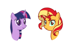 Size: 1229x806 | Tagged: alicorn, artist:zharkaer, bust, curved horn, duo, end of ponies, female, mare, pony, portrait, safe, simple background, sunset shimmer, transparent background, twilight sparkle, twilight sparkle (alicorn), unicorn