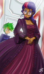 Size: 1920x3217 | Tagged: alternate hairstyle, artist:shonuff44, breasts, busty twilight sparkle, cleavage, clothes, dark skin, dress, female, glasses, human, humanized, indoors, looking back, male, safe, spike, twilight sparkle, victorian