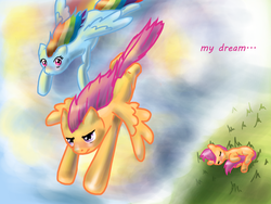 Size: 2000x1500 | Tagged: safe, artist:valeriyashyshkina, rainbow dash, scootaloo, pegasus, pony, dream, female, filly, flying, grass, mare, scootaloo can fly, scootaloo can't fly, sleeping, tail between legs
