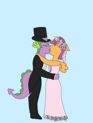Size: 1536x2048   Tagged: safe, artist:mintymelody, scootaloo, spike, anthro, a canterlot wedding, clothes, female, flower filly, flower girl, flower girl dress, hat, kissing, male, marriage, scootaspike, shipping, straight, suit, top hat, tuxedo, wedding