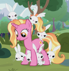 Size: 615x636 | Tagged: safe, screencap, angel bunny, luster dawn, pony, rabbit, unicorn, the last problem, animal, cropped, cute, dirty, female, glare, looking down, mare, smiling, smirk