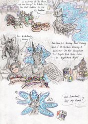 Size: 2465x3472   Tagged: safe, artist:grimmyweirdy, nightmare moon, twist, oc, oc:nyx, alicorn, comic:darkest nightmare night, aluminum foil, bags, candy, clothes, costume, crusader, fake cutie mark, fantasy class, food, knight, nightmare night, nightmare night costume, nightmare nyx, older, paladin, sacrifice, skeleton costume, statue, thick, warrior