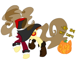 Size: 1200x1000 | Tagged: safe, artist:piichu-pi, oc, oc only, oc:eclair, headless horse, pony, unicorn, boots, cape, clothes, female, headless, headless horseman, mare, pumpkin head, shoes, simple background, solo, transparent background
