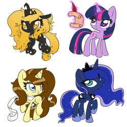 Size: 894x894 | Tagged: alicorn, artist:piichu-pi, changeling queen, changeling queen oc, chibi, clothes, deviantart watermark, female, magic, mare, obtrusive watermark, oc, oc:eclair, oc:princess aurelia, one hoof raised, pony, princess luna, quill, safe, scarf, scroll, simple background, telekinesis, transparent background, twilight sparkle, unicorn, unicorn twilight, watermark, writing, yellow changeling