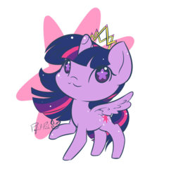 Size: 894x894 | Tagged: :3, alicorn, artist:piichu-pi, chibi, crown, cute, female, jewelry, mare, one hoof raised, pony, regalia, safe, simple background, solo, starry eyes, transparent background, twiabetes, twilight sparkle, twilight sparkle (alicorn), wingding eyes