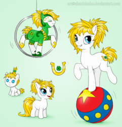 Size: 770x800 | Tagged: acrobatics, artist:shadobabe, baby, baby pony, ball, clothes, costume, earth pony, female, filly, mare, oc, oc:fortune flair, oc only, pony, safe