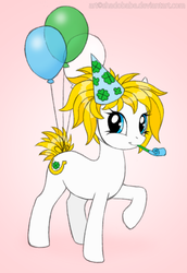 Size: 515x750 | Tagged: artist:shadobabe, balloon, earth pony, female, hat, mare, oc, oc:fortune flair, one hoof raised, party hat, party horn, pony, safe, solo