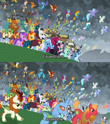 Size: 1920x2160 | Tagged: amethyst star, autumn blaze, avengers assemble, avengers: endgame, awesome, big macintosh, billy (dragon), buffalo, carapace (character), chancellor neighsay, changedling, changeling, clothes, clump, comic, dragon, edit, edited screencap, endgame, equestria assemble, everycreature, everyone is here, everypony, evil grin, final battle, firelight, fizzlepop berrytwist, flam, fleetfoot, flim, fume, gabby, garble, gilda, grampa gruff, greta, griffon, grin, hippogriff, king thorax, kirin, little strongheart, lyra heartstrings, moondancer, night light, party favor, pharynx, prince pharynx, prince rutherford, princess ember, rain shine, safe, screencap, screencap comic, seaspray, sky beak, smiling, soarin', sparkler, spear (dragon), spiracle, spitfire, spoiler:s09e24, spoiler:s09e25, stellar flare, sunburst, tempest shadow, terramar, text, the ending of the end, thorax, trixie, twilight velvet, uniform, wonderbolts uniform, zecora