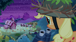 Size: 1280x720 | Tagged: applejack, binoculars, earth pony, going to seed, pony, safe, screencap, solo, spoiler:s09e10, sweet apple acres