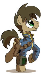 Size: 500x900 | Tagged: artist:wandrevieira1994, clothes, earth pony, fallout equestria, gun, handgun, holster, male, oc, pipbuck, pony, revolver, safe, simple background, solo, stallion, transparent background, vault suit, weapon