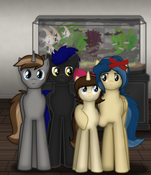 Size: 1557x1792 | Tagged: safe, artist:99999999000, oc, oc:mar baolin, oc:mar ker, oc:mar yue ren, oc:su wendi, fish, pegasus, pony, unicorn, aquarium, brother and sister, daughter, family, family photo, father, female, group photo, male, mother, parent, parents:oc x oc, siblings, son, younger