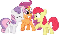 Size: 10921x6400 | Tagged: absurd res, accessory-less edit, apple bloom, artist:parclytaxel, crusaders of the lost mark, cutie mark, cutie mark crusaders, earth pony, edit, editor:slayerbvc, female, filly, missing accessory, pegasus, pony, raised hoof, safe, scootaloo, simple background, smiling, .svg available, sweetie belle, the cmc's cutie marks, transparent background, unicorn, vector, vector edit