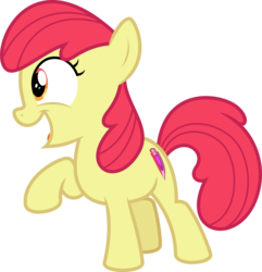 Size: 4920x5108 | Tagged: absurd res, accessory-less edit, apple bloom, artist:parclytaxel, cropped, crusaders of the lost mark, cutie mark, earth pony, edit, editor:slayerbvc, female, filly, missing accessory, pony, raised hoof, safe, simple background, smiling, solo, the cmc's cutie marks, transparent background, vector, vector edit