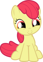Size: 2571x3706 | Tagged: accessory-less edit, adorabloom, apple bloom, artist:burdo49, cute, earth pony, edit, editor:slayerbvc, female, filly, forever filly, looking down, missing accessory, pony, safe, simple background, sitting, smiling, solo, transparent background, vector, vector edit