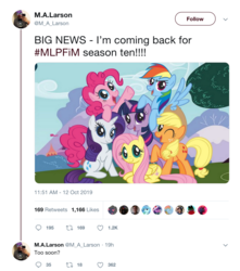 Size: 1240x1404 | Tagged: applejack, applejack's hat, cowboy hat, cruel, earth pony, female, fluttershy, hat, idw, larson you magnificent bastard, m.a. larson, mane six, mane six opening poses, meta, pegasus, pinkie pie, pony, rainbow dash, rarity, safe, season 10, spoiler:comicseason10, too soon, trolling, twilight sparkle, twitter, unicorn